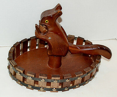Vintage Hand Carved Squirrel Nut Cracker with Wooden Nut Bowl