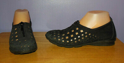 b1d495ba79f1 Fabulous Arche Black Nubuck Leather Perforated Zip Front Flats Size 37 Euro  6 US