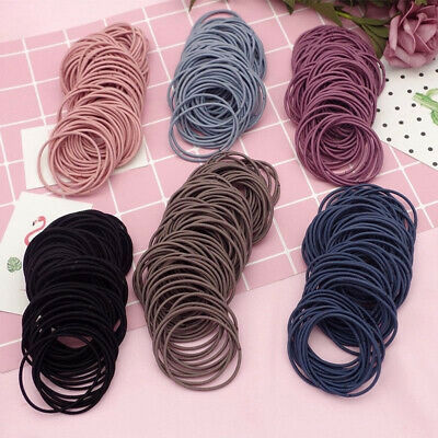 100PCS Elastic Women Girls Hair Band Ties Rope Ring Hairband Ponytail Holder