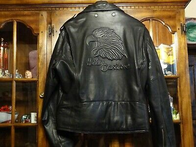 Harley Davidson Embossed Eagle Black Leather Jacket 1990 Mens Xl X-Large (48)
