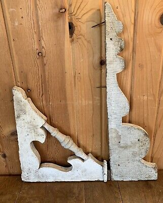 Piar Of Vintage Wood Porch Architectural Salvage Corbel Great Design!! Nr!!