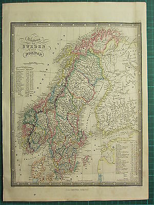 1872 James Wyld Map ~ Sweden & Norway With Population Gottland Christiania