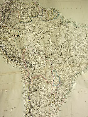 1865 Victorian Hand Coloured Map ~ South America Falkland Chile Uruguay Brazil