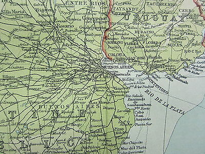1921 Large Map ~ Southern South America Chile Falkland Montevideo Buenos Aires