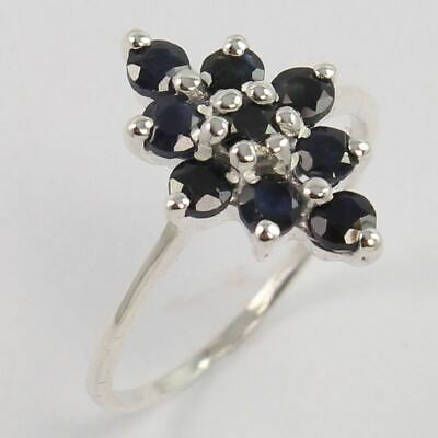 925 Sterling Silver Indian Jewelry Ring Size US 7.75 Natural BLUE SAPPHIRE Gems