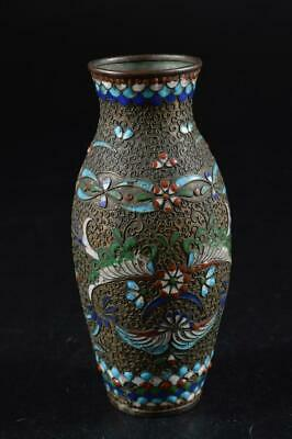 Antiques Nice G7370 Xf Chinese Resin Copper Tsuishu Pattern Flower Vase Ikebana Tea Ceremony Vases