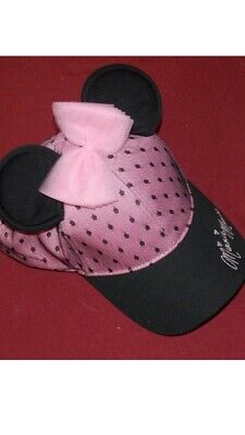 182b13d7338 Disney Parks Millennial Pink Black Polka Dot Bow Minnie Mouse Ears Hat Cap  New