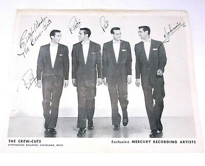 VTG Signed Autographed THE CREW-CUTS Mercury Records Promotional Photo Picture