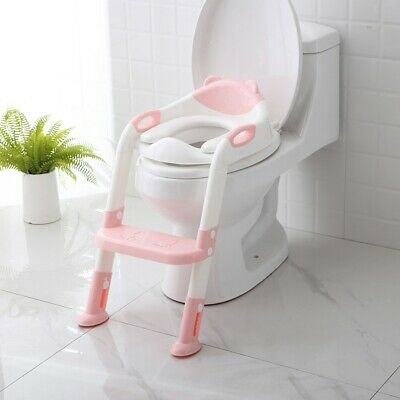 Baby Infant Kid Potty Seat With Ladder Cover Toilet Folding Chair Training Stool