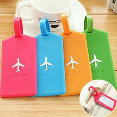 Luggage Tag Name Address ID Label Rubber Silicone Travel Baggage Card Holder