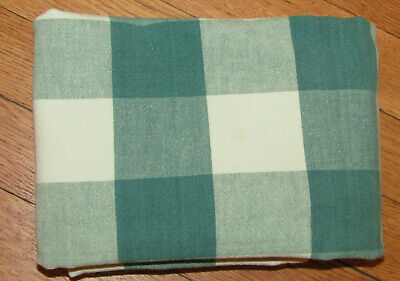 "Shades of Green Cotton Buffalo Check Plaid Tablecloth 45"" X 52"" Med Wt Cotton"