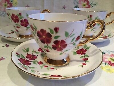 *3 Beautiful Vintage Gilded Pink Floral Tea Set Cups And Saucers*
