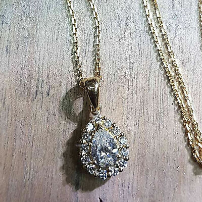 14k Yellow Gold Over 1.50 Ct Pear Cut Diamond Halo Pendant Necklace with Chain