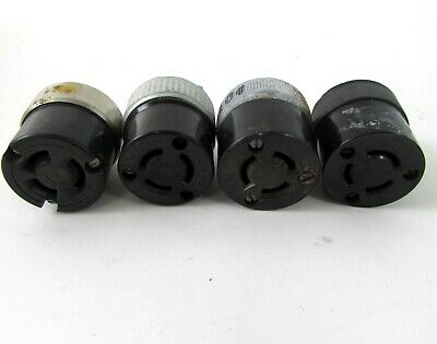 4-WIRE BLACK #2439 TURN PULL NOS RODALE 20A-250V RUBBER CAP PLUG