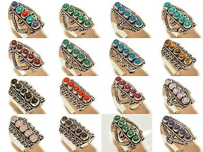 Wholesale Lot 16  Pcs Lapis,Opal & Multi Stone 925 Silver Plated Rings Sizable