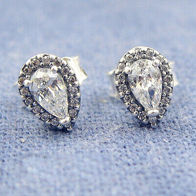 d9932f9ab Authentic 100% 925 Sterling Silver Clear CZ Radiant Teardrops Stud Earrings