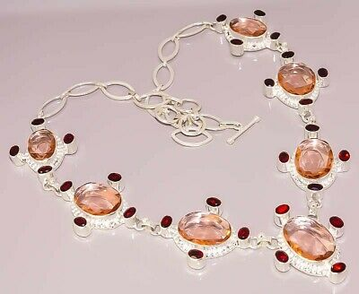 Faceted Morganite Garnet Quartz Jewelry 925 Sterling Silver Plated Necklace