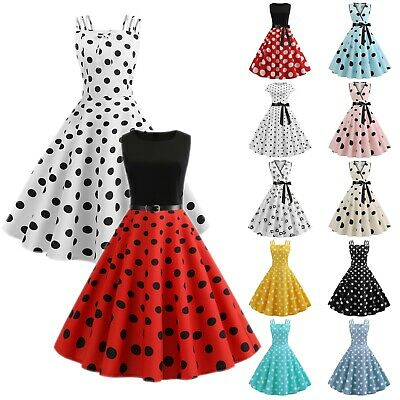 Women Rockabilly Pinup Polka Dot Vintage Hepburn Swing Evening Party Midi Dress
