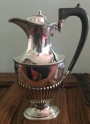 "Antique Solid Silver Hot Water Jug 9"" High. Chester 1908. 418 Grams. A455."