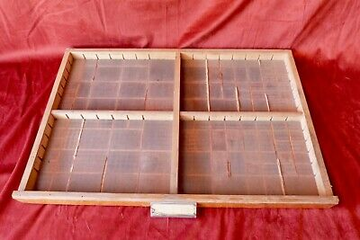 Vintage French Printers Tray Rustic Letterpress Type Case Drawer Display Amended
