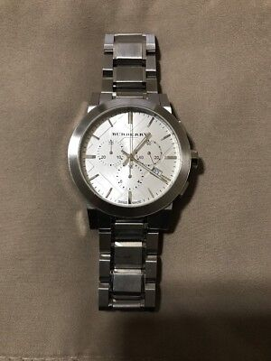 Burberry Mens BU9350 Large Check Stainless Steel Bracelet Watch - Silver