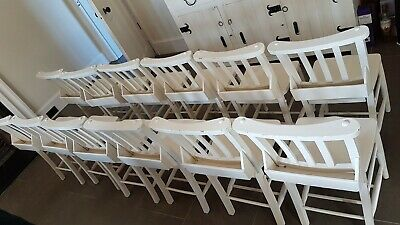 Off white dining chair Vintage Original Church Wooden