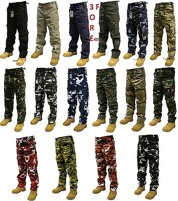 Mens Cargo Combat Work Trousers Army Military Camo Camouflage-Plain 30 to 60 in