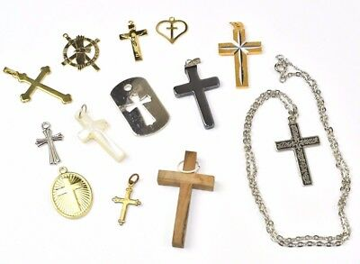 Lot of 12 antique Religious Catholic Crosses Crucifix Wood Brass Mother of pearl