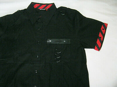 "Black Red Mens Shirt S Punk Goth short sleeve Dead Threads 40"" chest"