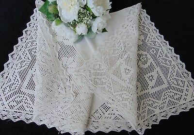 Antique/ Vintage French Victorian Linen/Cotton Filet Lace Stunning Tablecloth