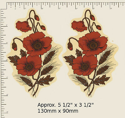 "2 x Waterslide ceramic decals Decoupage Large Poppy Approx. 5 1/2"" x 3 1/2"" R48"