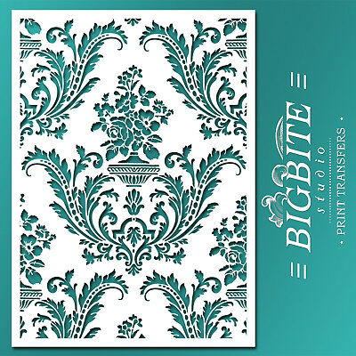 Shabby Chic STENCIL: Damask Wallpaper Pattern (DIY Furniture Print) #036
