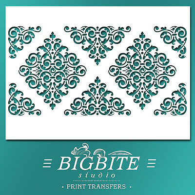 Shabby Chic STENCIL: Arabesque Ornamental Pattern (Print Transfer) #049