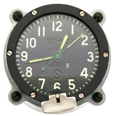 9-day / 14-jewels Soviet 70's-made Tank Clock 127CS / 127ChS, for Cockpit Panel