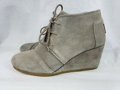 e1f079ba5a9c TOMS SUEDE Lace Up Embroidered Gray Ankle Booties Size 7.5 -  39.00 ...