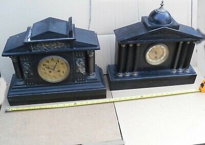 Vintage Heavy Butcher Nottingham Slate Mantel Clock + Another - Helston Cornwall
