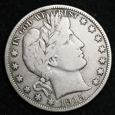 1915-S Barber Half Dollar CHOICE VF FREE SHIPPING E346 MT