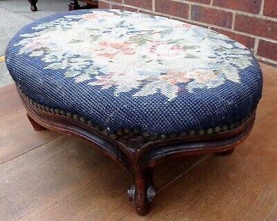 Victiorian antique carved solid mahogany woolwork French style footstool stool