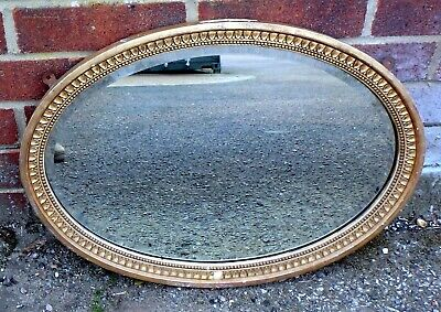 Victorian antique Adam style ditressed oval gilt gesso pine wall hall mirror
