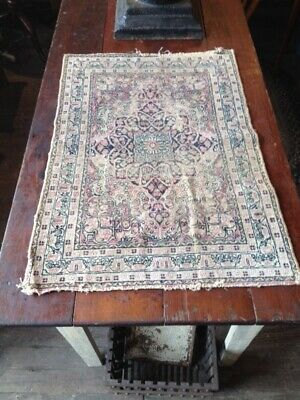 Antique Handmade Persian Rug Oriental Carpet Table Country Primitive Well Worn