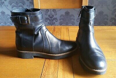 fc39ad9bf19 GEOX RESPIRA WOMENS Uk Size 5 Black Leather Ankle Boots Side Zip ...