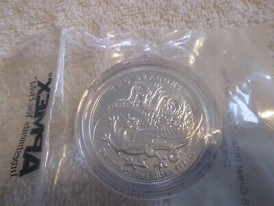 2018 Great Britain Two Dragons Silver Coin 1 oz 0.999 n Mint Capsule
