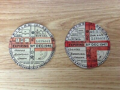 2 X Original Vintage Car / Road Tax Disc 1946 & 1947  Same Van - Bedford (Goods)
