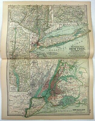 Original 1897 Map of Southern New York State by The Century Company. Antique