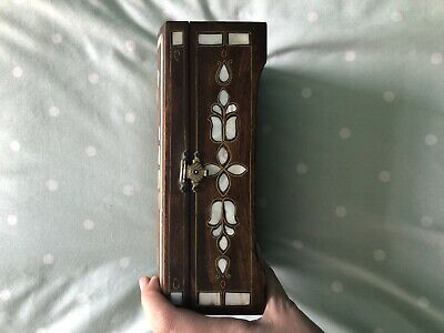 Small Wooden Box With Lid And Mother Of Pearl Detail