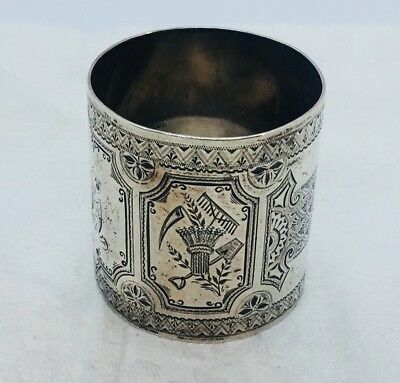 Antique American Sterling Silver Wide Ornate Hunting Theme Napkin Ring