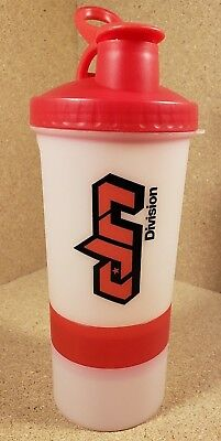 Shaker Bottle 18 Ounce Protein Supplement Holds Mixes Two Stackable Cup Red