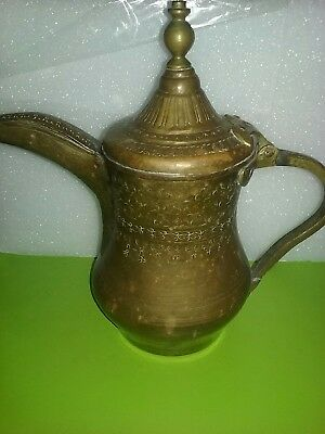 vintage large islamic turkish style copper/brass teapot pitcher