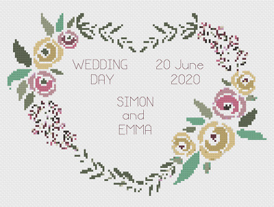 Dragon Heart Anniversary or Wedding Sampler Cross Stitch Kit by Florashell
