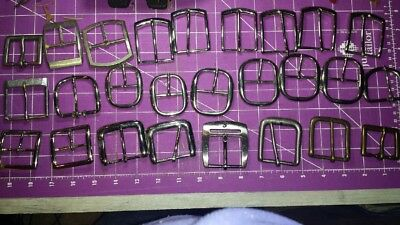 Lot of Mixed Size & Shape Metal Tongue Belt Buckles Silvertone and Gunmetal